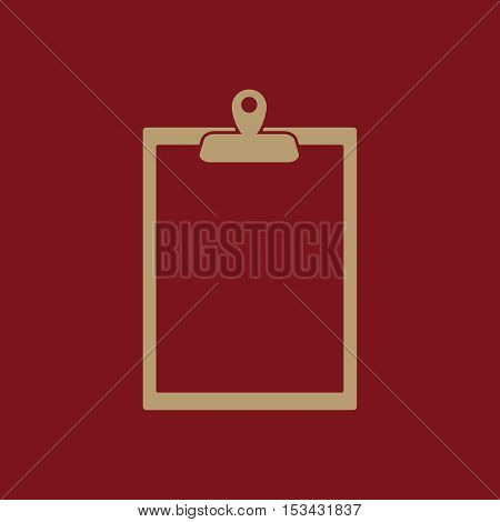 The clipboard icon. Paperwork symbol. Flat Vector illustration