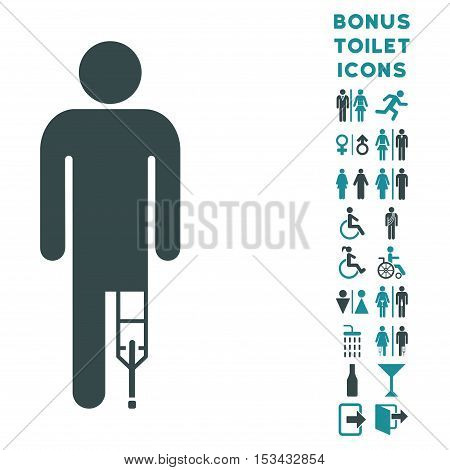 Patient Man icon and bonus male and female WC symbols. Vector illustration style is flat iconic bicolor symbols, soft blue colors, white background.