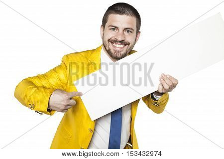 Businessman In Gold Suit Shows A Place For Your Text