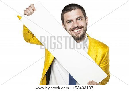 Businessman Holds A Copy Space, Dressed In A Gold Suit