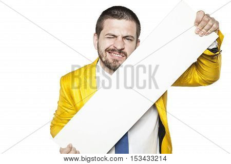 Businessman Winks And Holds A Place On The Advertisement