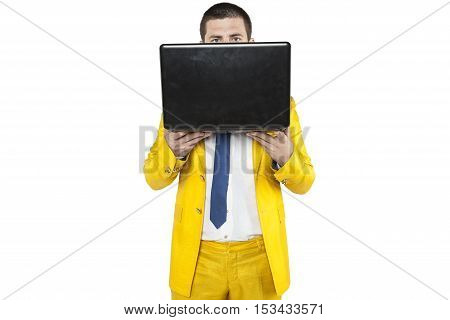 Businessman Is Hiding Behind A Computer