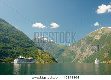 Two cruisers in Norwegian fjord