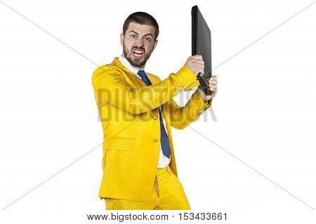 Angry Businessman Smashing Computer