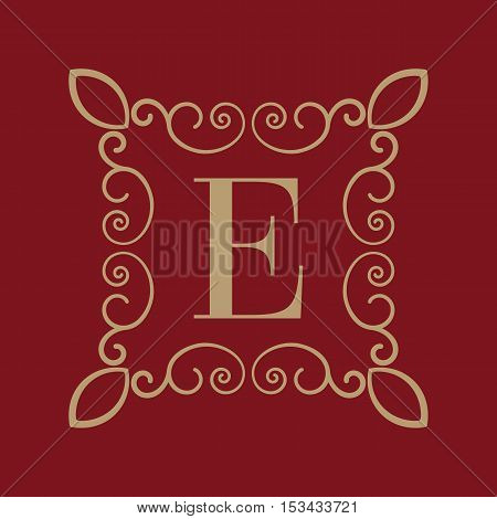 The Monogram letter E. Calligraphic ornament. Gold. Retro, Business and Vintage Concepts. Vector illustration