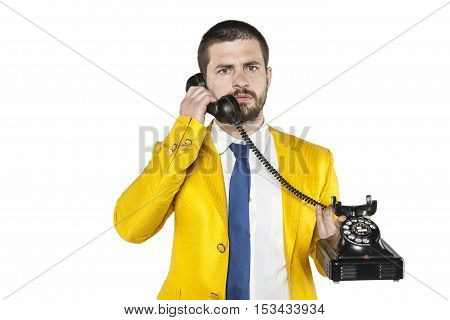 Businessman In A Gold Suit Leads The Telephone Conversation