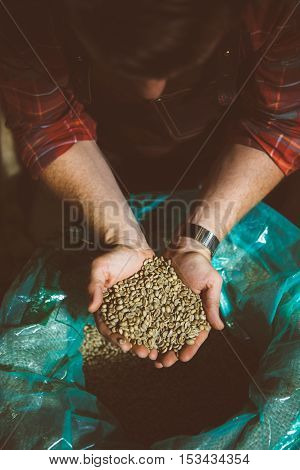 Overhead of professional worker looking at raw coffee beans in hands
