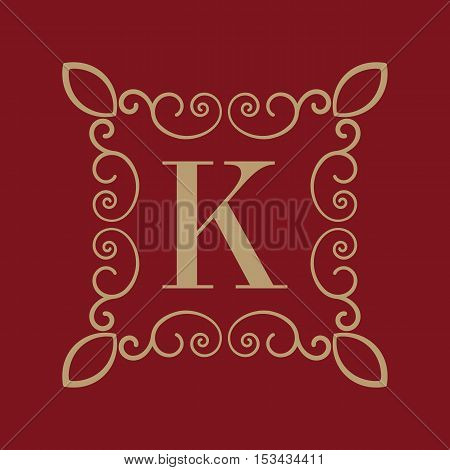 The Monogram letter K. Calligraphic ornament. Gold. Retro, Business and Vintage Concepts. Vector illustration