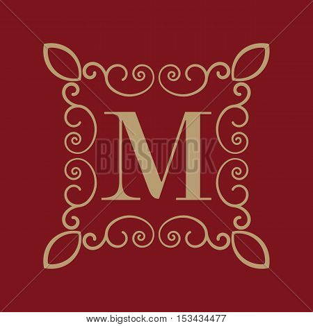 The Monogram letter M. Calligraphic ornament. Gold. Retro, Business and Vintage Concepts. Vector illustration