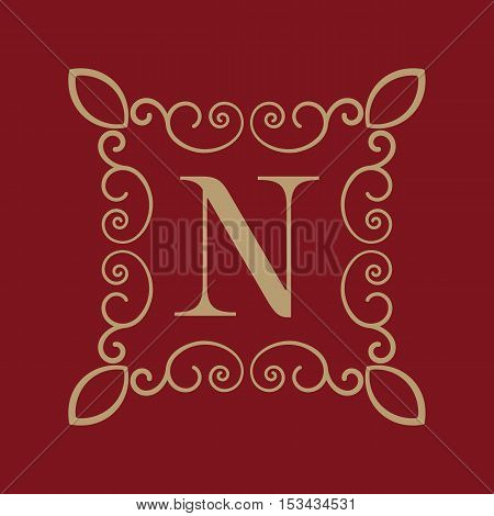 The Monogram letter N. Calligraphic ornament. Gold. Retro, Business and Vintage Concepts. Vector illustration