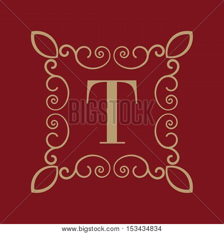 The Monogram letter T. Calligraphic ornament. Gold. Retro, Business and Vintage Concepts. Vector illustration