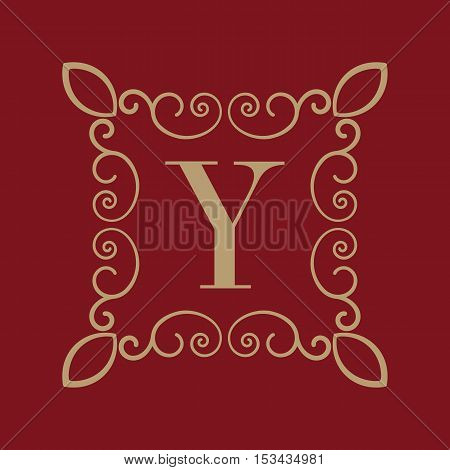 The Monogram letter Y. Calligraphic ornament. Gold. Retro, Business and Vintage Concepts. Vector illustration