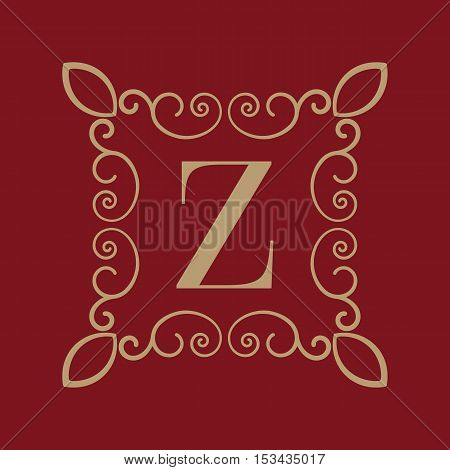 The Monogram letter Z. Calligraphic ornament. Gold. Retro, Business and Vintage Concepts. Vector illustration