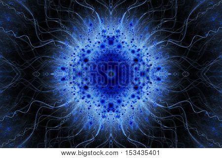 Abstract flower ornament on black background. Symmetric fractal mandala in dark blue colors. Creative design for wallpapers or textile. Digital art. 3D rendering.