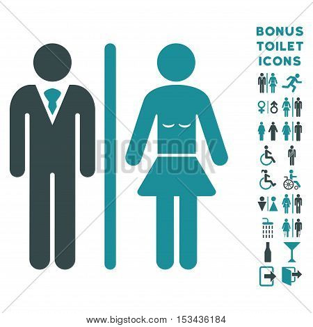 Toilet Persons icon and bonus gentleman and lady toilet symbols. Vector illustration style is flat iconic bicolor symbols, soft blue colors, white background.