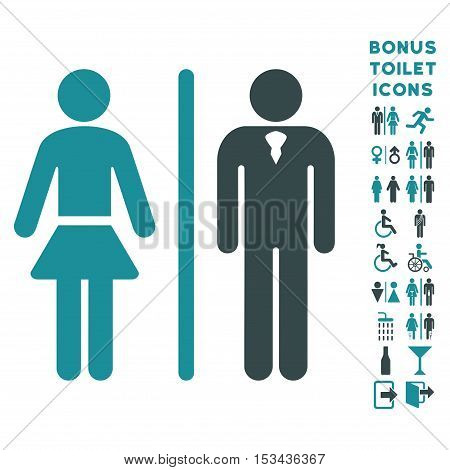 Toilet Persons icon and bonus male and lady lavatory symbols. Vector illustration style is flat iconic bicolor symbols, soft blue colors, white background.