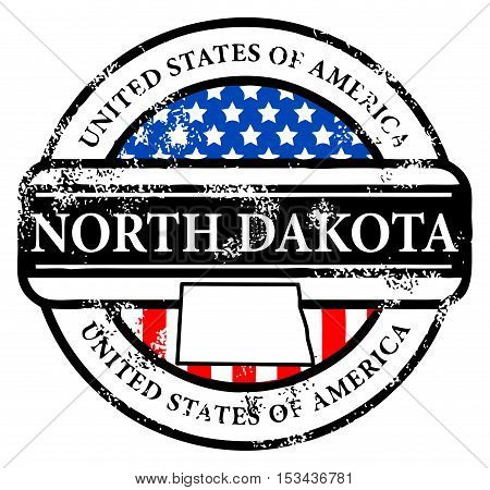 Grunge rubber stamp with name of North Dakota, vector illustration