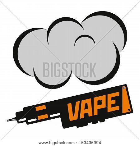 Vector illustration of vape. Blak print on white background. Illustration of electronic cigarette. Vape trend.
