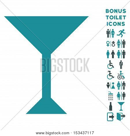Wine Glass icon and bonus male and female restroom symbols. Vector illustration style is flat iconic bicolor symbols, soft blue colors, white background.