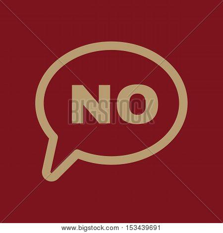 The NO speech bubble icon. No symbol. Flat Vector illustration