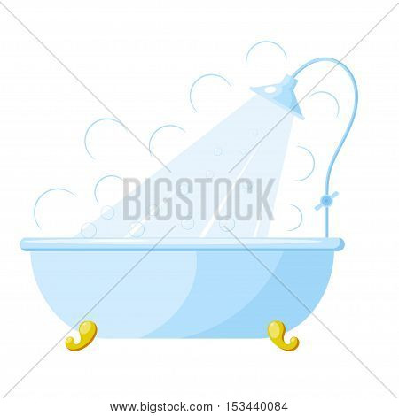 Vector illustration of a bath with shower. Cartoon bath with shower on a white background. Isolated object. Image blue with gold bath stand