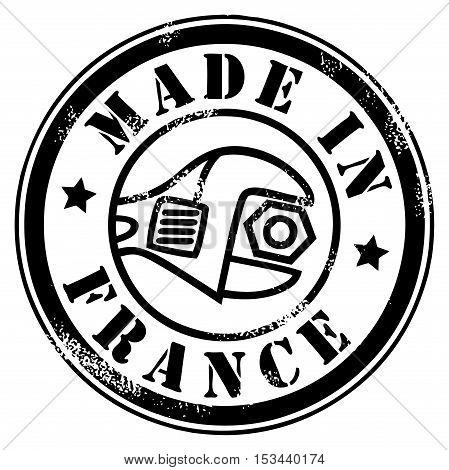 Made in France grunge style stamp, vector illustration