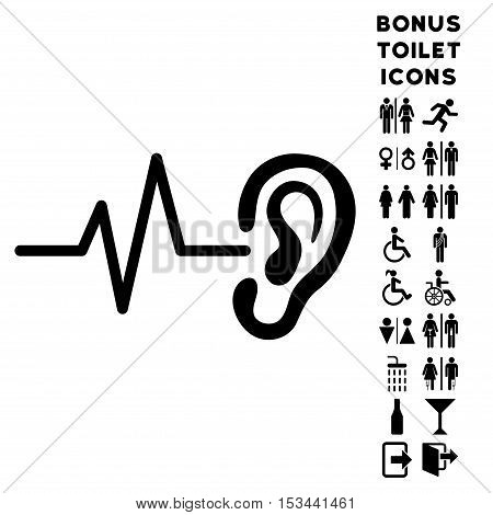 Listen Ear icon and bonus male and female lavatory symbols. Vector illustration style is flat iconic symbols, black color, white background.