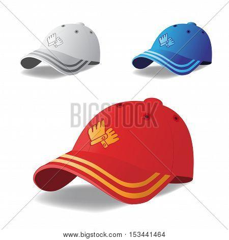 Vector set of caps on white background - illustration
