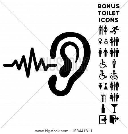 Listen Ear icon and bonus male and female toilet symbols. Vector illustration style is flat iconic symbols, black color, white background.