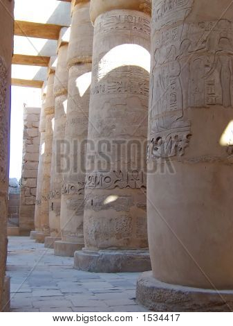 Hieroglyphs On The Culumns Of An Old Egyptian Temple, Karnak, Louxor, Egypt