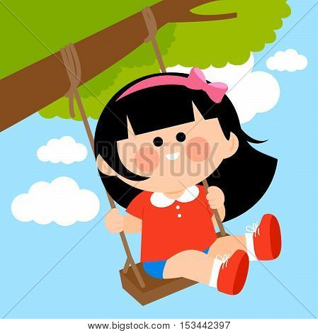 Vector Illustration of a girl playing on a tree swing.