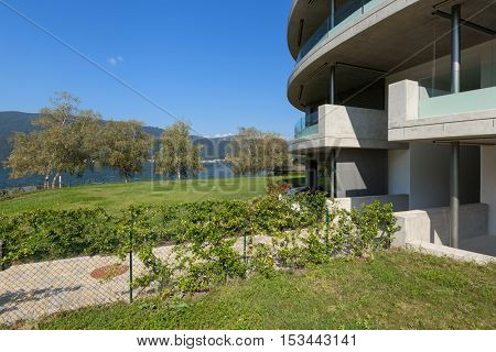 Architecture from Switzerland, exterior of a concrete modern building