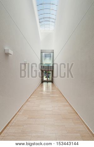 Architecture from Switzerland, perspective of a corridor, interior modern building