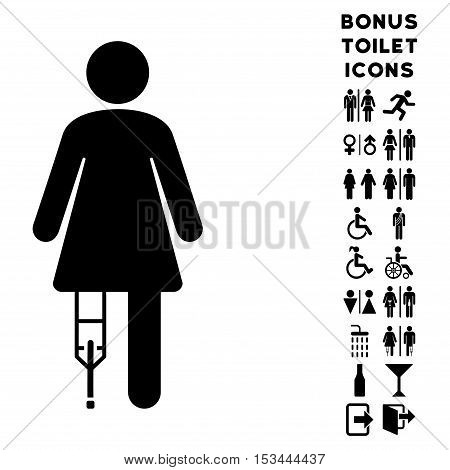 Patient Woman icon and bonus gentleman and woman toilet symbols. Vector illustration style is flat iconic symbols, black color, white background.