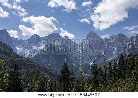 View of mount Martuljek in the Julian alps