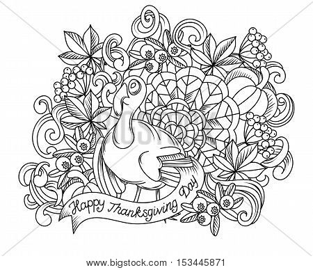 Cartoon vector hand drawn Doodle Thanksgiving sketch illustration. background with objects and symbols.