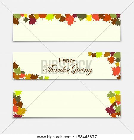 Happy Thanksgiving day Three Thanksgiving banners. Vector illustration.