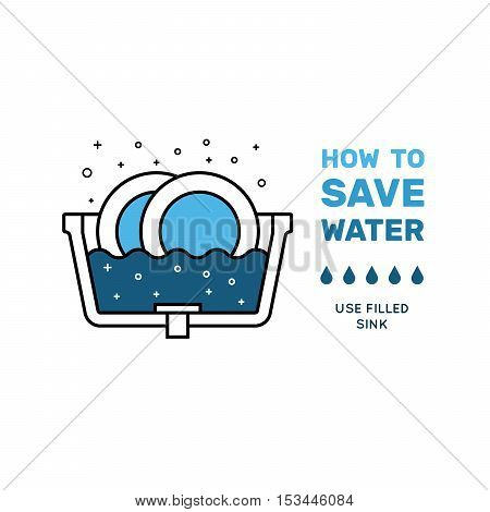Illustration with tips on saving water consumption by man in a house - Save Water Images Stock Photos Amp Illustrations Bigstock