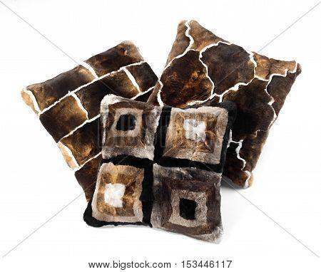 Three Brown Toned Fur Pillows