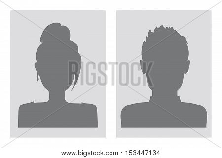Vector male and female silhouettes. Gray tones.