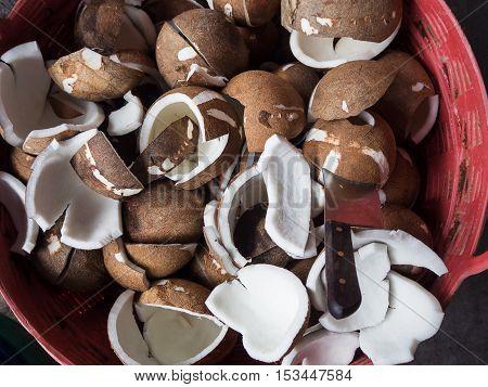 Coconut Meat For Make Coconut Milk At Market, Thailand