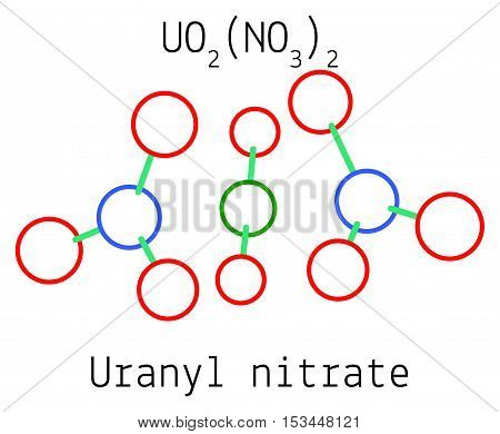 Uranyl nitrate UO2N2O6 molecule isolated on white