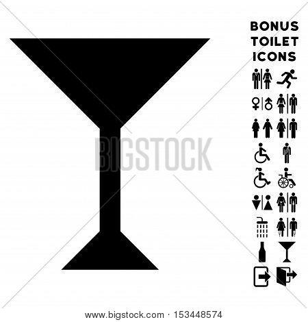 Wine Glass icon and bonus man and female toilet symbols. Vector illustration style is flat iconic symbols, black color, white background.