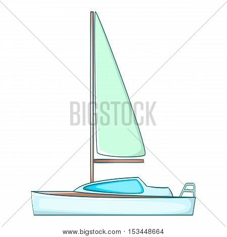 Yacht with sails icon. Cartoon illustration of yacht with sails vector icon for web