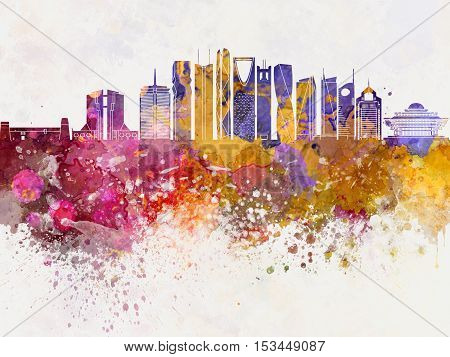 Riyadh V2 skyline artistic abstract in watercolor background