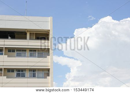 building apartment Thailand on blue sky the background with copy space