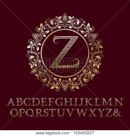Stripy gold letters with Z initial monogram. Baroque style font for logo design. Isolated english vintage alphabet.