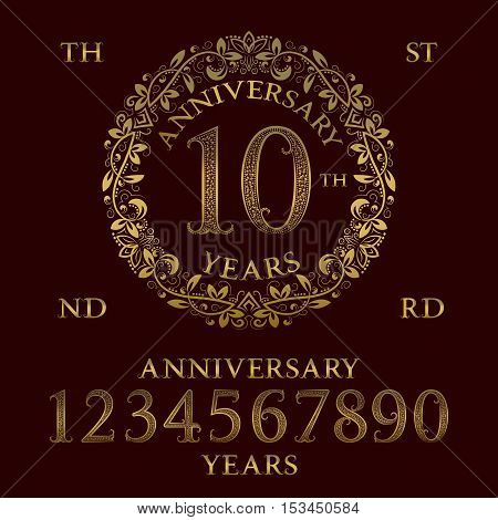Anniversary sign kit. Golden numbers frame and some words for creating celebration emblems.