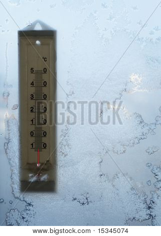 Thermometer on winter window