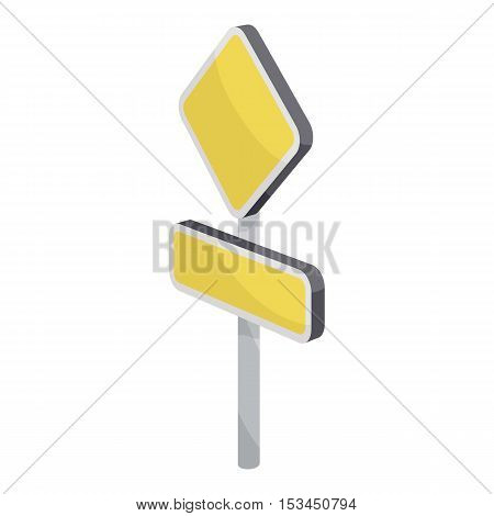 Yellow road sign icon. Cartoon illustration of yellow road sign vector icon for web